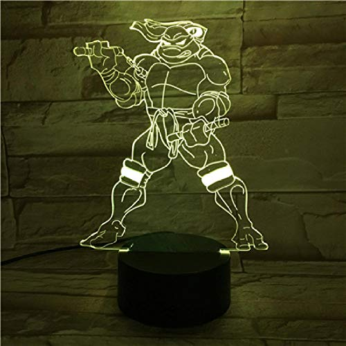 Lampka nocna LED kreskówka czujnik dotykowy RGB dzieci Michelangelo Mike lampa biurkowa lampka nocna komiks przełącznik dotykowy