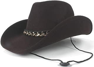 HAOHAO Classic Beautiful 2019 Winter Cowboy Hat Neutral Western Cowboy Leather Felt Hat Wool Jazz Men's Alloy Leather Belt Ornamental Panama Hat (Color : Coffee, Size : 56-59cm)
