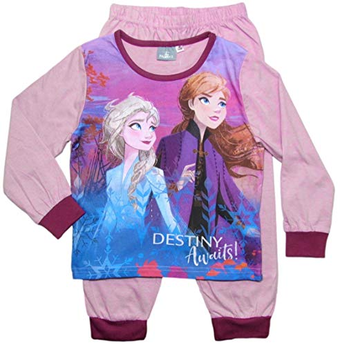 Frozen - Die Eiskönigin Mädchen Schlafanzug ELSA Pyjama (Rosa/Bordeaux, 110-116)