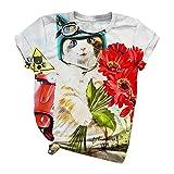 VEMOW Camiseta Blusas Mujer Tallas Grandes Verano Cuello Redondo, Moda Motivo de Gato Dibujos Animados Impreso Blusa de Manga Corta T-Shirts de Amigos Equipo Talla Grande para Mujer(B Blanco,L)