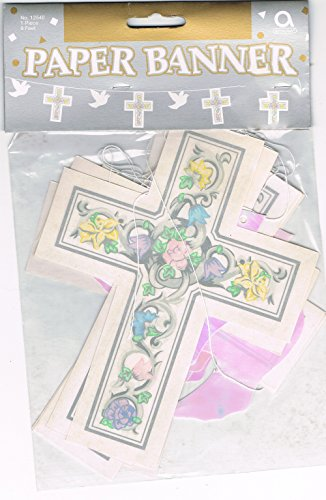 Cross and dove garland pastel colour wedding ceremony decoration