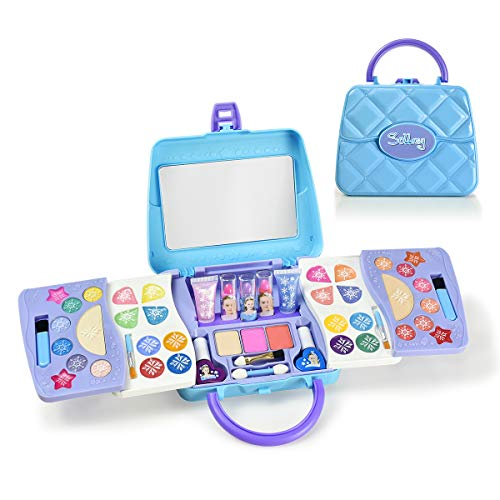 SOLLASY 48 PCS Real Makeup Palette Set-Kids Makeup Kit for Girls - Fold Out Makeup Palette-Great Birthday Gift for Children