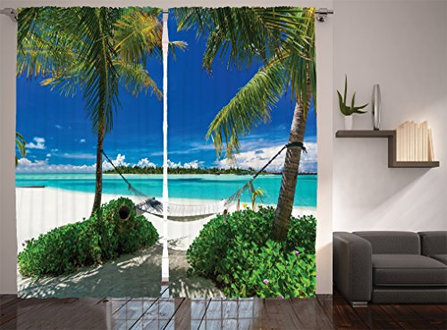 """Ambesonne Beach Curtains, Hammock and Palm Trees at a Tropical Beach Scenic Coastline Sunny Summer, Living Room Bedroom Window Drapes 2 Panel Set, 108"""" X 84"""", Green Blue"""