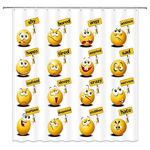 Cartoon Duschvorhang Emoji Smiley Gesichter von Happy Sad Angry Furious Moods Expressions Druck Badezimmer Dekor Wasserdichter Stoff mit 12 Haken , Weiß Gelb