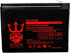 12V 10 Amp NP12 10Ah Rechargeable Lead Acid Scooter Battery F2 Style Terminals by Neptune