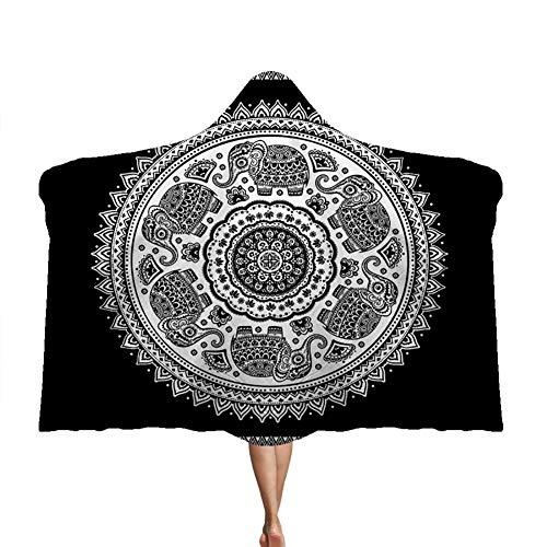 Manta con capucha Manto de mandala Manta doble de felpa para niños Brújula Magia,A,150 * 200cm