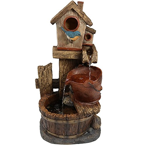 Sunnydaze Bluebird House and Buckets Outdoor Water Fountain - Waterfall Fountain & Backyard Water Feature for Patio, Yard, Lawn - 26 Inch Tall