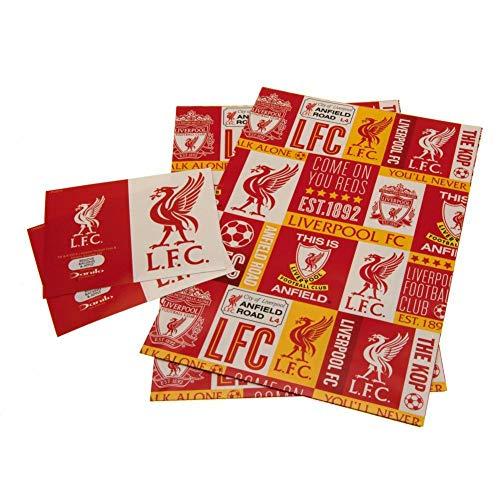 Offizielles Liverpool Football Club Geschenkpapier, inkl. 2 Bögen und 2 Geschenkanhängern