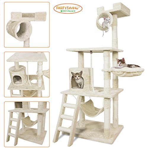 Pet Palace Cat Tree Kitten Activity Tower Condo with Hammock, Deluxe Scratching Posts, and Rope, 65', APL1354