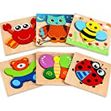 Dreampark 木製ジグソーパズル 6パック 動物パズル 幼児 子供用 1 2 3 歳 教育玩具 男の子と女の子用