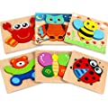Dreampark Wooden Jigsaw Puzzles, [6 Pack] Animal Puzzles for Toddlers Kids 1 2 3 Years Old Educational Toys for Boys and Girls