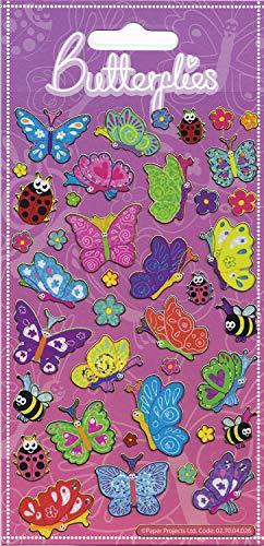 Paper Projects 01.70.04.026 Lot de Stickers à Paillettes Motif Papillons