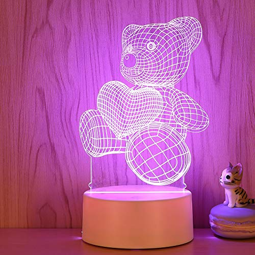 Lampe de décoration de bureau Led Night Light Night Light 3D Plug Radio Light Lampe de chevet Girl Light Girl Heart Seven Colors, c