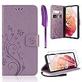 AROYI Lederhülle Kompatibel mit Samsung Galaxy S21 5G Hülle & Schutzfolie, Flip Wallet Handyhülle PU Leder Tasche Hülle Kartensteckplätzen Schutzhülle Kompatibel mit Samsung Galaxy S21 5G (Lila)