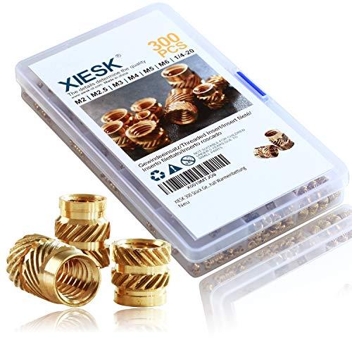XIESK Lot de 300 inserts filetés M2 M2,5 M3 M4 M5 M6 - En laiton - Filetage intérieur pour pièces en plastique ou pièces dimpression 3D par ultrasons
