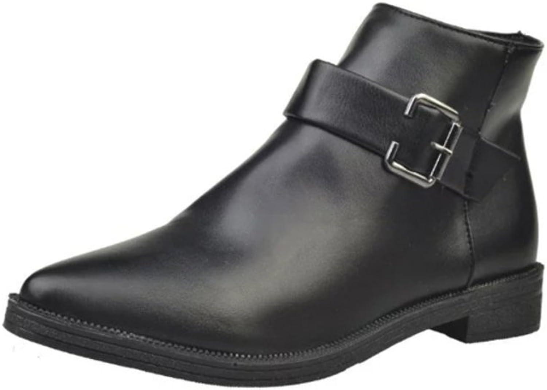 RHFDVGDS Autumn winter Martin boots Wind low point belt buckle boot of England leisure nude boots side zipper