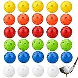 YGHH 30 Piezas Coloridas Bolas de Práctica de Golf, Bolas de Golf Huecas, Vistoso El Plastico 26 Hoyos Pelotas de Entrenamiento de Golf para Práctica de Swing, Campo de Prácticas (6 Colores)