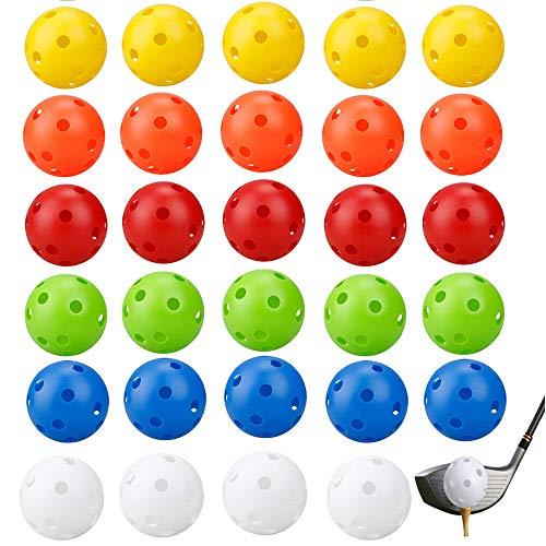 YGHH 30 Stück Golfbälle Üben, Golf Trainingsbälle, Haustier Plastikball, Bunt Plastik 26 Loch Luftstrom Hohle Golfbälle für Schaukelübungen, Driving Range (6 Farben)