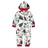 Pijama 1 Pieza Mono Navidad Familiar Mameluco Padres e Hijos Iguales para Invierno Estampado Campana de Navidad con Cremallera y Capucha para Ropa de Casa (Bebé, 9-12 M)