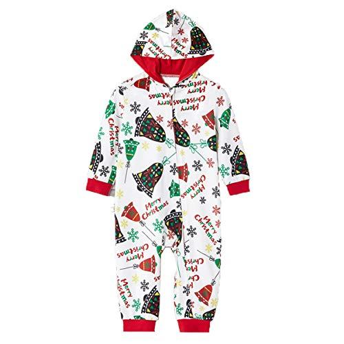 Pijama 1 Pieza Mono Navidad Familiar Mameluco Padres e Hijos Iguales para Invierno Estampado Campana...