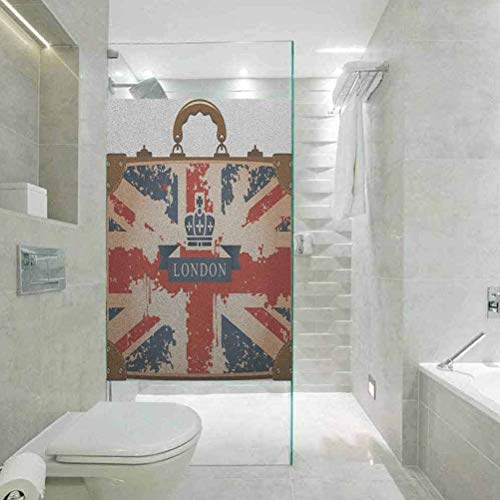 Self Adhesive Film Static Cling Window Sticker, Privacy Glass Film for Home &Office, Union Jack Vintage Travel Suitcase with British Flag Lon, W17.7xH35.4 Inch
