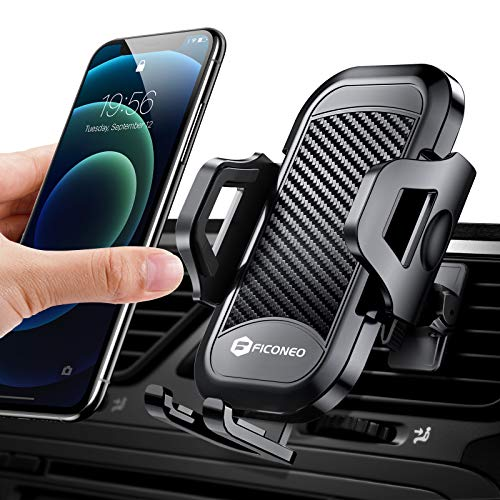 FICONEO Universal Car Phone Mount, Hands-Free Cell Phone Holder for Car Air Vent Compatible iPhone 12 Pro Max/12 Pro/12 Mini/SE 2/11 Pro Max/X/XS/XS Max/XR, Galaxy S21 Ultra/S21+/S20/S10+/Note 20