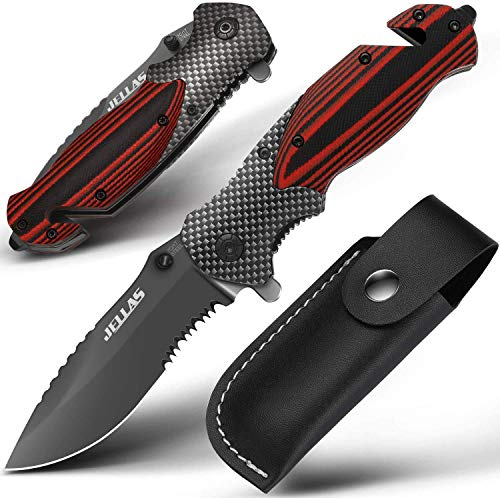 Jellas Pocket Knife for Men, Folding Knives with Sharpener, Premium Tactical Knife for Camping Hunting Fishing, Glass Breaker, Belt Clip Holster, Awesome Gifts for Dad Men