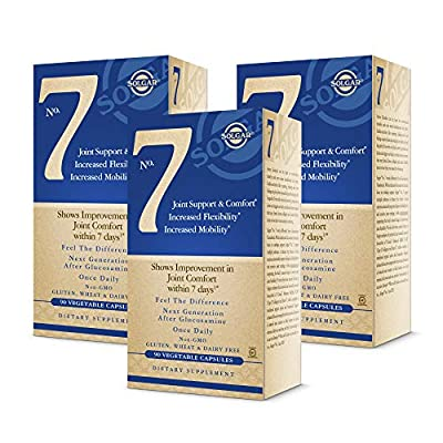 Solgar No. 7, 90 Vegetable Capsules - 3 Pack - Joint Support & Comfort - Increased Mobility & Flexibility - With Collagen & Turmeric - Non GMO, Gluten Free, Dairy Free - 90 Servings