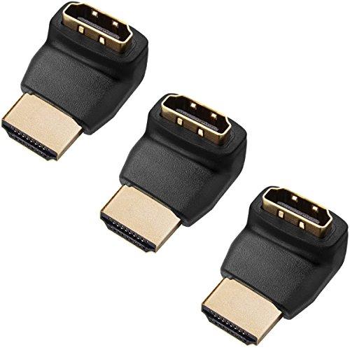 Twisted Veins ACHLA3 - Connettori adattatori HDMI ad angolo retto, 270 gradi, confezione da 3 pezzi