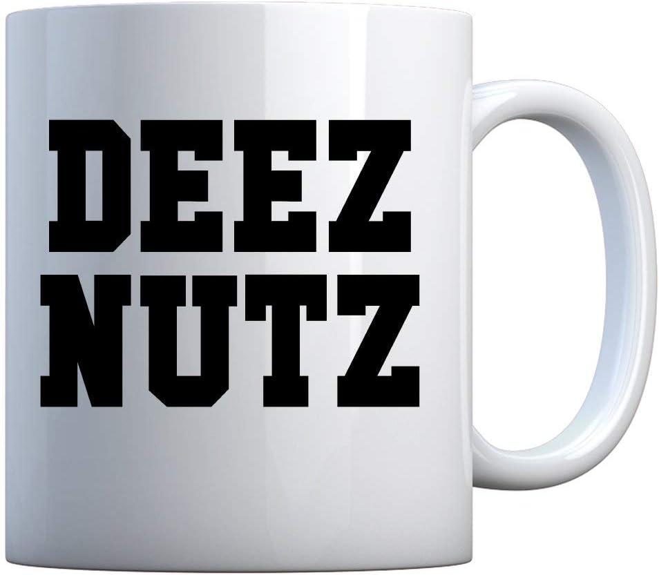 NA Taza Deez Nuts Taza de Regalo Blanca Perla de 11 oz