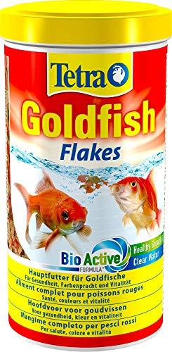 Tetra Goldfish, Flockenfutter für alle Goldfische und andere Kaltwasserfische, Futtermischung Hauptfutter Alleinfutter Flockenmix, 1 Dose (1 x 1 L)