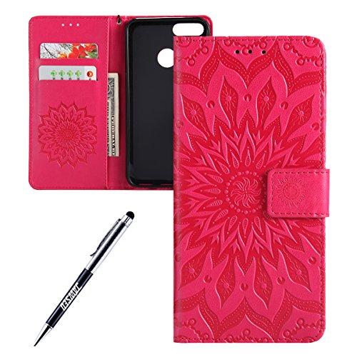 Kompatibel mit Xiaomi Mi A1 Hülle,JAWSEU Sonnenblume Schutzhülle Brieftasche Hülle Leder Tasche Handyhülle LederHülle Flip Hülle Wallet Tasche Handytasche für Xiaomi Mi A1,Mandala Hot Pink