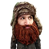 Beard Head Barbarian Trapper Hat - Original Faux Fur Hat and Removable Beard