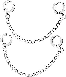 Pair Double Pierced 6mm 9mm Big Small Hoop Huggie Dangle Chain Drop Earring Studs Cartilage Lobe Helix Men Women 18G 20G Curved Post Ear Piercing