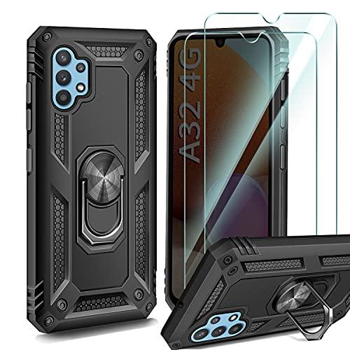 AROYI Funda Compatible con Samsung Galaxy A32 4G (No para Samsung Galaxy A32 5G) con 2 Unidades Cristal Templado Film, 360 Grados Anillo iman Soporte Bumper - Negro