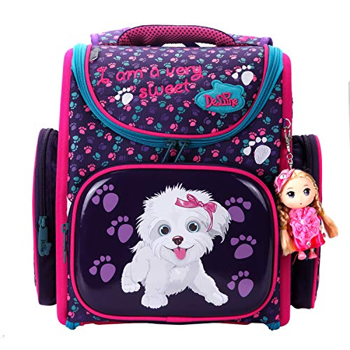 Folding Primary School Backpack for Girls 3D Cartoon Doggy Paw Printing Orthopedic Elementary School Bookbag for Kids