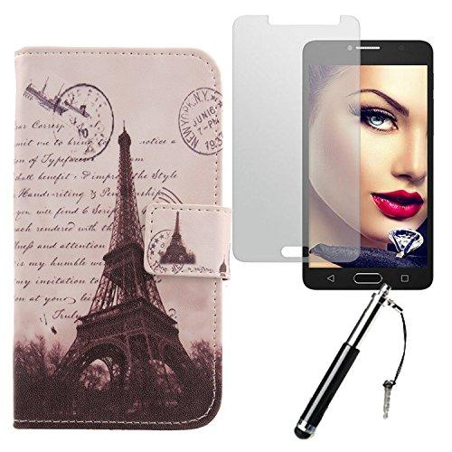 Lankashi Stamp Tower 3in1 PU Flip Leder Tasche Für Alcatel One Touch Pop 4S 5.5