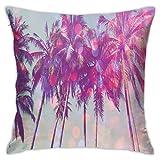 SHUJIA Funda de almohada para cojín, Palmeras Haiian Tropic Seashore Beach Californian Miami Sunbeams Imagen, 45,7 x 45,7 cm