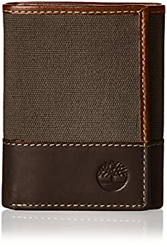 Timberland Men s Canvas & Leather Trifold Wallet Charcoal One Size