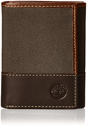 Timberland Men's Canvas & Leather Trifold Wallet, Charcoal, One Size