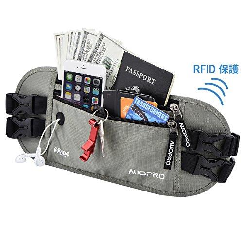 AUOPRO ランニングポーチ 防水 バッグ スポーツ用ウエストバッグ RFID防止 軽量 ウォーキング ジョギング ...
