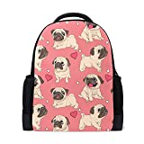 Funny Pink Pugs Puppies Mochila para computadora portátil, mochila escolar casual para viajes