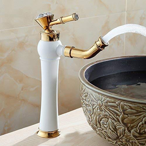 LHQ-HQ Grifo de la cuenca del grifo de la cascada antiguo baño cocina grifo oro negro azulejo cocina baño grifos blanco, mezclador grifo baño bañera palanca grifo