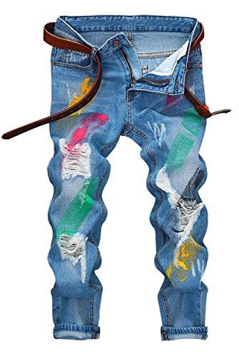 Men's Distressed Moto Biker Jeans Straight Slim Fit Denim Pants – Above Ankle Length (US W32=Tag33(Asian Size), Blue+Paint)