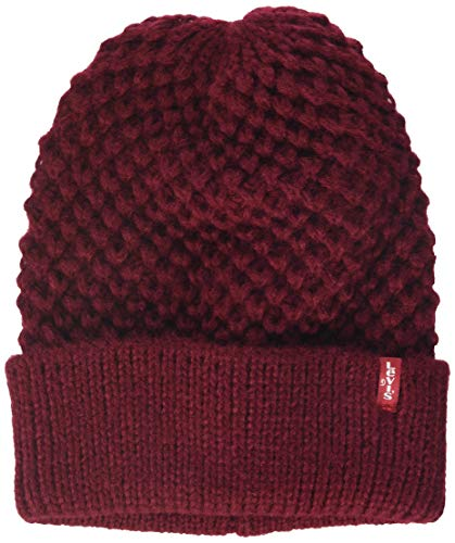 Levi's Damen Classic Knit Beanie Strickmütze, Rot (Dark Bordeaux 84), One Size (Herstellergröße: UN)