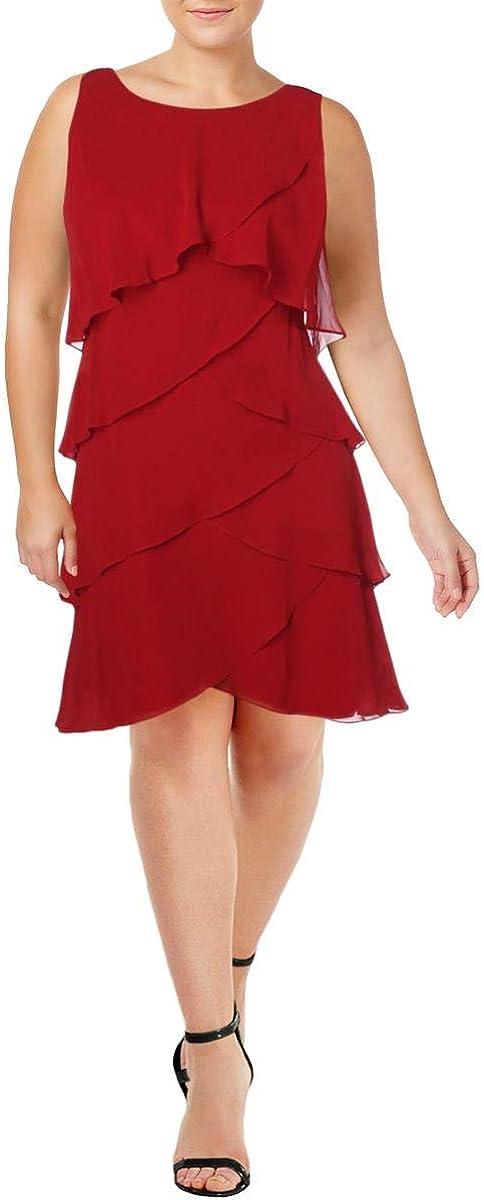 SLNY Womens Chiffon Sleeveless Cocktail Dress Red 8