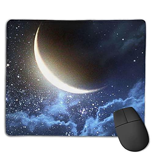 Starry Moon - Alfombrilla de ratón para teclado (antideslizante, base de goma, para computadora de escritorio o ordenador portátil, con bordes cosidos, impermeable, para el trabajo y el juego