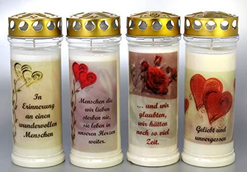 Kerzen Junglas 4 Grablichter, Grabkerzen, 4er Set- 21x7,5 cm - 3788-7 Tage Brenndauer je Grablicht – Trauerkerze mit Motiv und Spruch - Motivkerze - Gedenkkerze