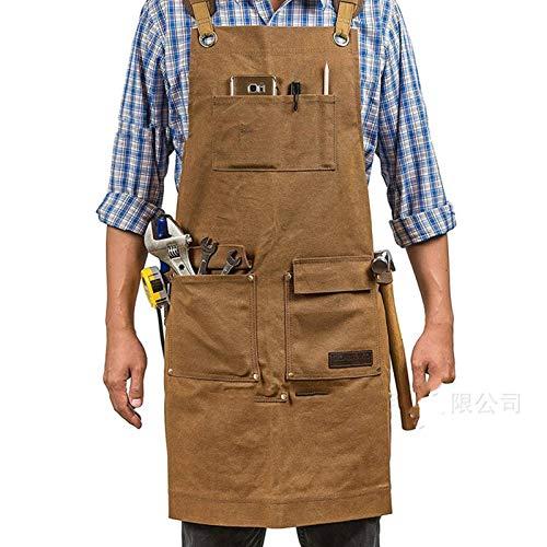 N-B Delantal de carpintería con bolsillo magnético, lona encerada para hombre con múltiples bolsillos, delantal de herramientas impermeable, espalda cruzada y ajustable (marrón)