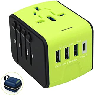 International Power Adapter, Universal Travel Adapter, Universal Adaptor, OceanWave Travel Power Adaptor, USB Chargers: 3xUSB & 1xType-C 3.4A (Green)